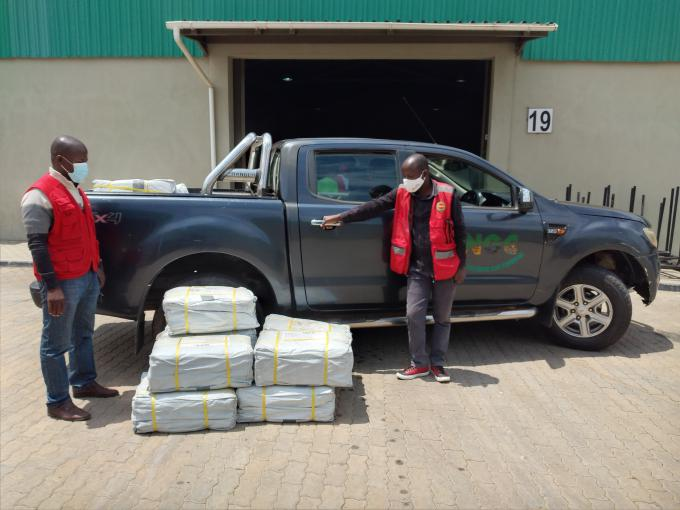 Part of the tarpaulins when they were loaded from the Save the Children's warehouse in Manica
